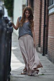 Zara cashmere steel grey tank top   Zara nude silk flowy maxi skirt ~ Only available here   Zara gold gladiator sandals   Simo...