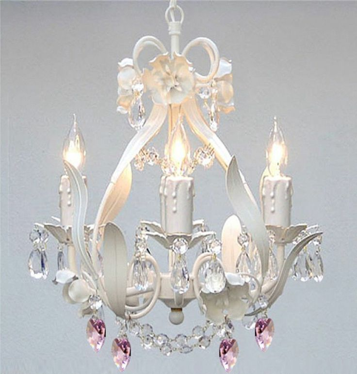 22 best dining room chandelier images on pinterest chandelier white iron crystal flower chandelier lighting w pink crystal heartsswag plug in chandelier w feet of hanging chain and wire aloadofball Choice Image