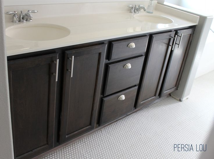 Attractive Staining And Updating Bathroom Cabinets By Persia Lou   Love The Dark Stain  And The Different