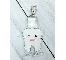 Tooth Snap Tab Key Fob Embroidery Design