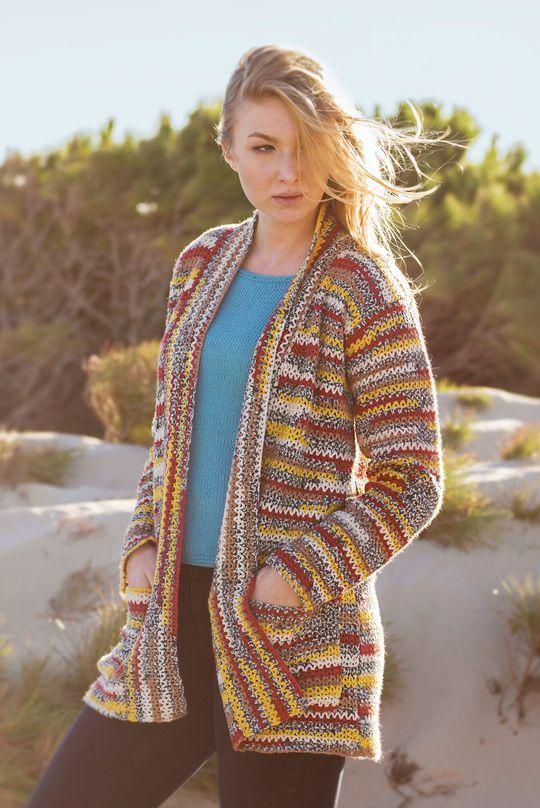 Naisen virkattu takki Novita Venla Nature   Novita knits