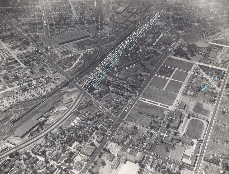 An aerial shot of Burbank, California, from the 1950's showing what would eventually become restaurant row (Taco Bell, McDonald's, Shakey's, Tommy's, Carl's Jr., etc) on San Fernando Road. You can see Burbank High School nearby.