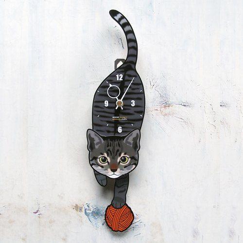 C-007 キジトラ(子猫)-猫の振子時計