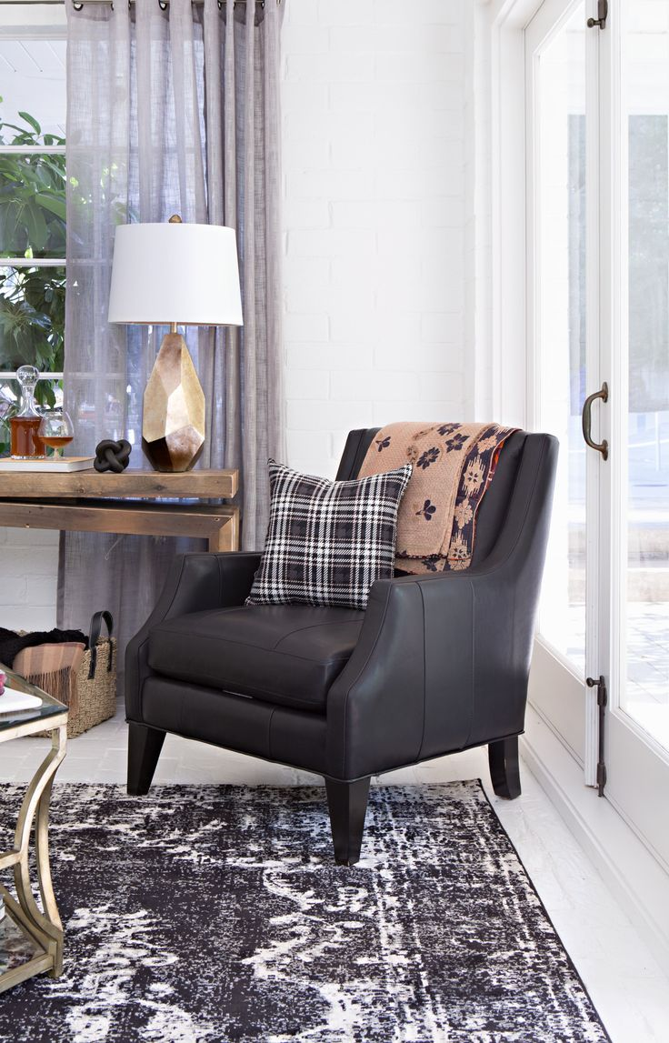 Accent chairs in living room - Aidan Leather Accent Chair