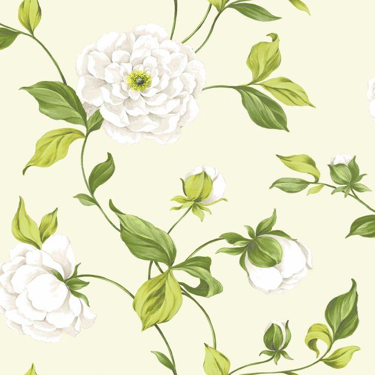 Colours Paste The Wall Camelia Cream & Green Wallpaper | Departments | DIY at B&Q