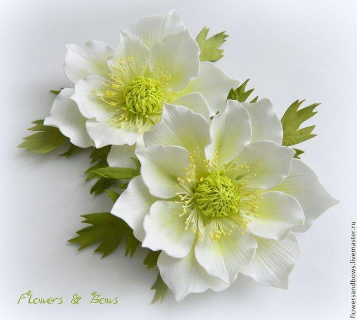 Купить Цветок анемона из фоамирана (ревелюра) - белый, анемон, анемона, цветы, цветы ручной работы