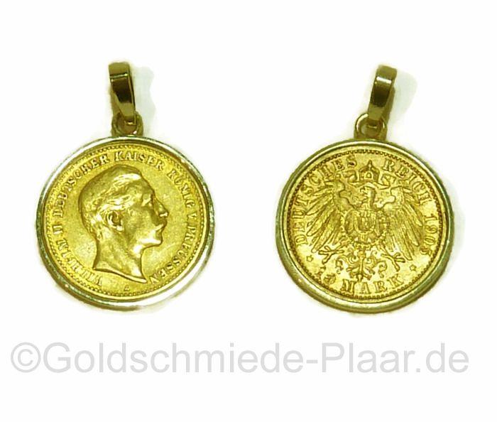 Kettenanhänger mit Goldmünze