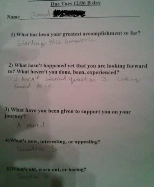 You have to read the answers to these questions...this kid is clever...
