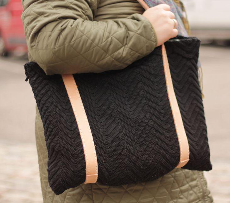Hæklet taske - zigzag hækling Crochet tote bag www.cicitive.dk