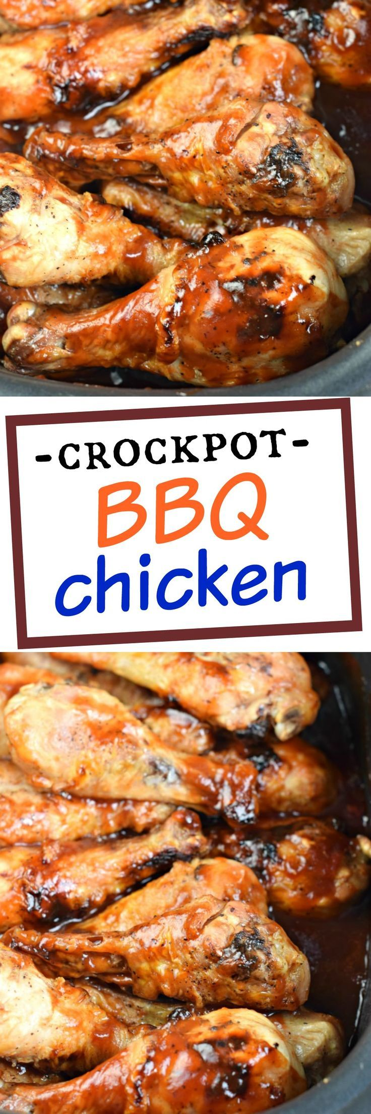 Make juicy, sweet and tangy chicken in your crockpot with this easy Slow Cooker BBQ Chicken recipe!