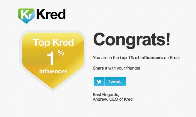 Kred Top 1% worldwide Influencer #Kred