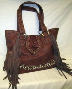 Western Purse Handbag Montana West Trinity Ranch Leather Fringe Trim 8014 Brown | eBay