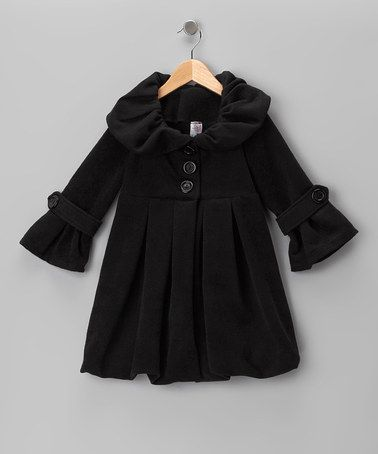 Just Kids Black Lined Pleated Peacoat - Girls by Just Kids on #zulily Little girl peacoats are one of the reasons I had hoped to have a girl. Ah well. :( ;)