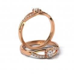Inel de logodna cu diamante Alyosha din aur roz