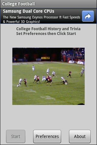 College Football History and Stats is a quiz format application to test your knowledge of NCAA College Football History. The user can choose from 10, 25, or 100 questions to answer, and an easy or standard level of difficulty. Questions are about game records, season records, great performances, nicknames, and more.