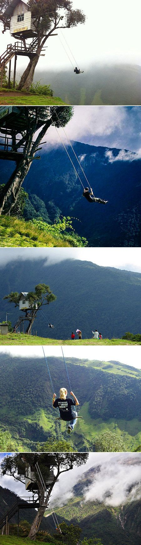 Swing sets are typically used by children on a playground, but this makeshift contraption known as the Swing at the End of the World is only for the bravest adventurers willing to take the risk of falling off the edge of a cliff while swinging high in the air. Located in Baños, Ecuador at La Casa del Árbol (The Treehouse), this incredible swing greets hikers at an elevation of 2,660 meters. It invites anyone daring enough to ride it.