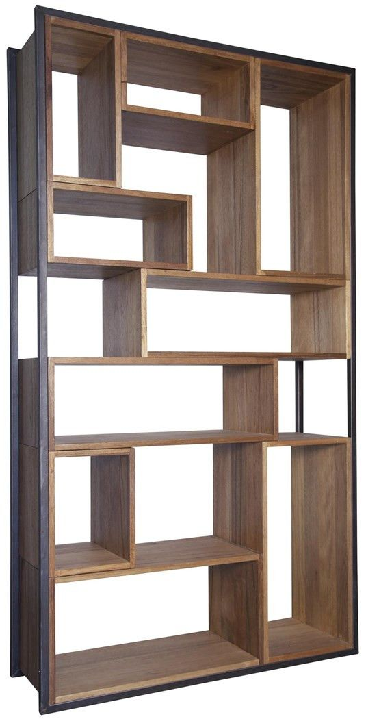 Knots, gouges, cracks and nail holes are inherent characteristics of this retro Walnut wood and metal bookcase. Different size boxes make a cohesive shelving unit and provide ample display space for y