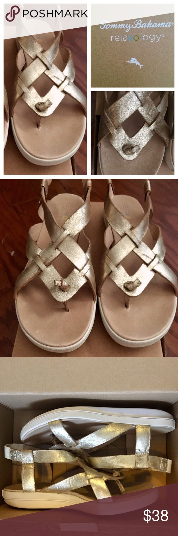 Tommy Bahama Reflexology Sandal Sz 8 Super comfortable and supportive. Gold sandals.  Made for waking.  Worn one time. Tommy Bahama Shoes Sandals