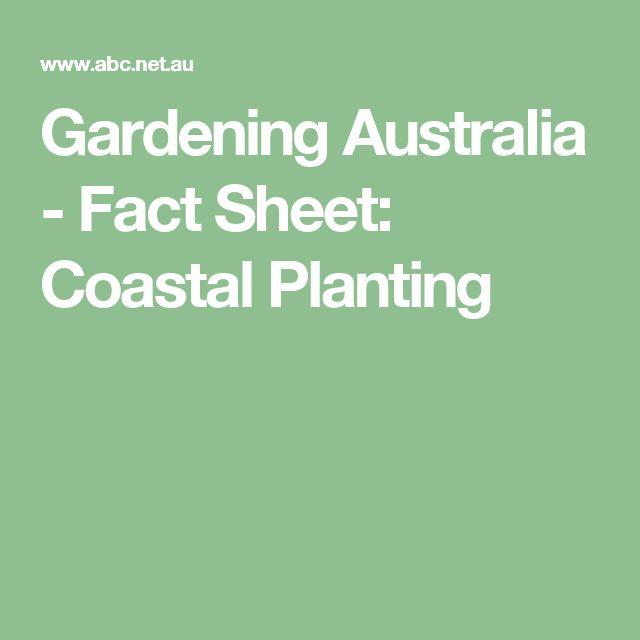 Gardening Australia - Fact Sheet: Coastal Planting