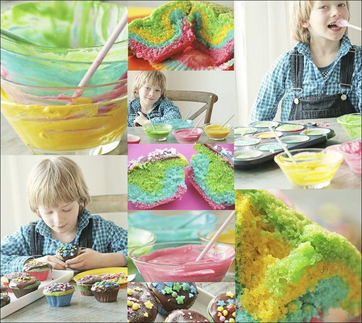 Regnbue-muffins