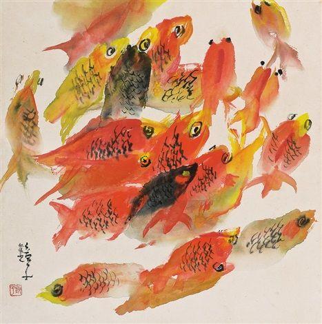 (Korea) Old fishes by Chun Kyung-ja (1924-2015). 천경자.