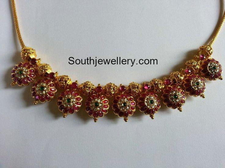 Pretty Nakshi Balls and Floral Choker photo