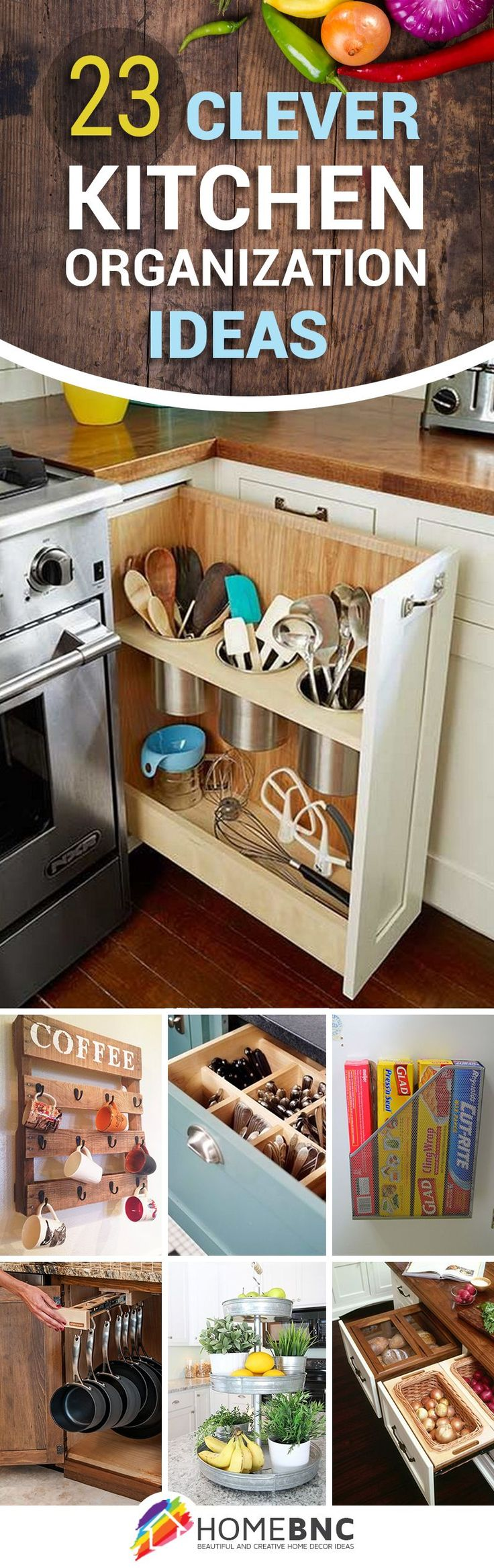 23 Practical Kitchen Organization Ideas that Will Save You a Ton of Space                                                                                                                                                                                 More