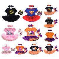 3PCS Baby Girl Infant Halloween Costume Romper Tutu Dress Headband Shoes Outfits