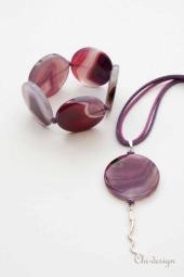 Sieraden: Edelsteen Armband Agaat,    Trendy paarse Armband van edelsteen Agaat.
