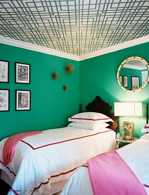 Bright green + pink bedroom