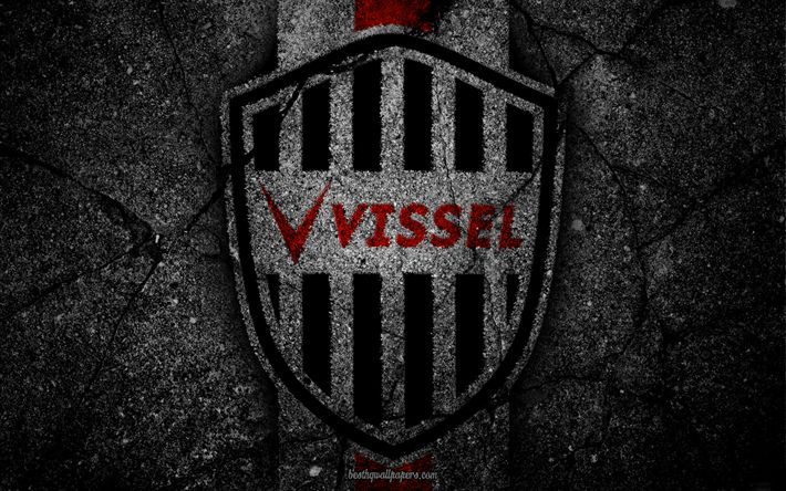 Download wallpapers Vissel Kobe, logo, art, J-League, soccer, football club, FC Kobe, asphalt texture
