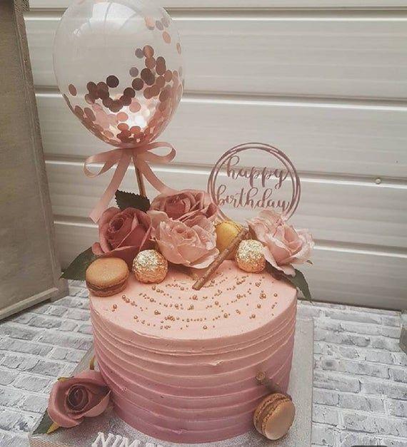 Rose Gold Balloon Cake Topper Confetti, Balloon Topper ...