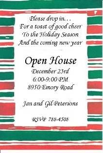 christmas open house invitations wording | Holiday Christmas Open House Party Invitations