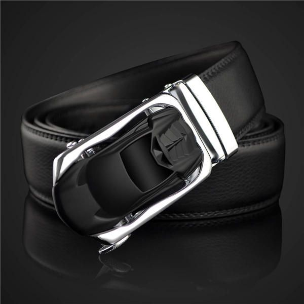 Mens 130cm Cowhide Leather Automatic Buckle Business Belt at Banggood