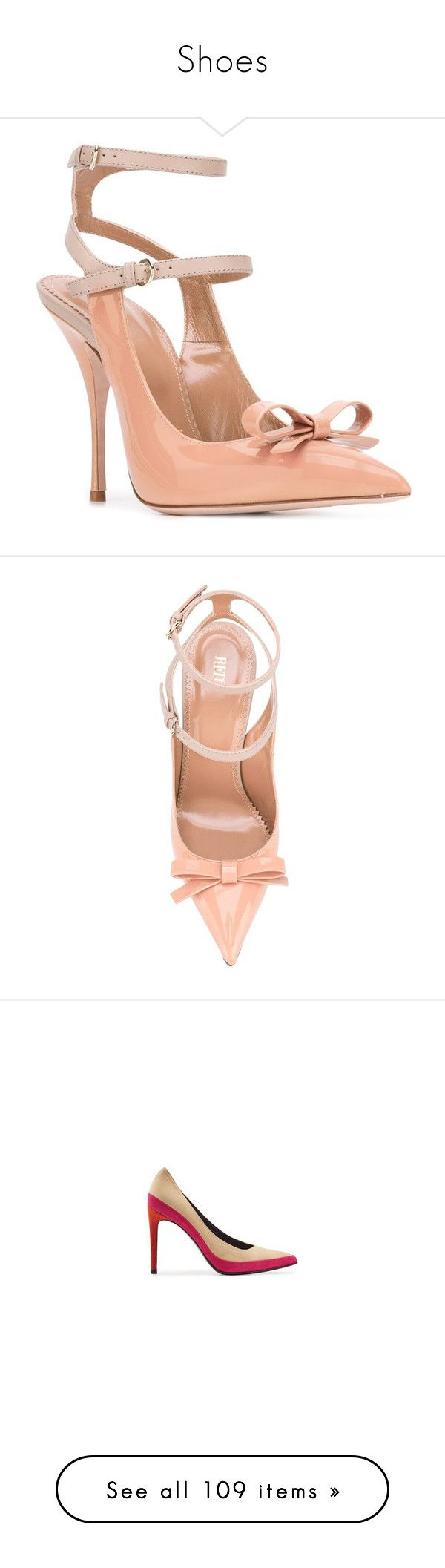 """""""Shoes"""" by bliznec ❤ liked on Polyvore featuring shoes, pumps, red valentino, red valentino pumps, bow pumps, red valentino shoes, bow shoes, block-heel pumps, suede leather shoes and colorblock shoes"""