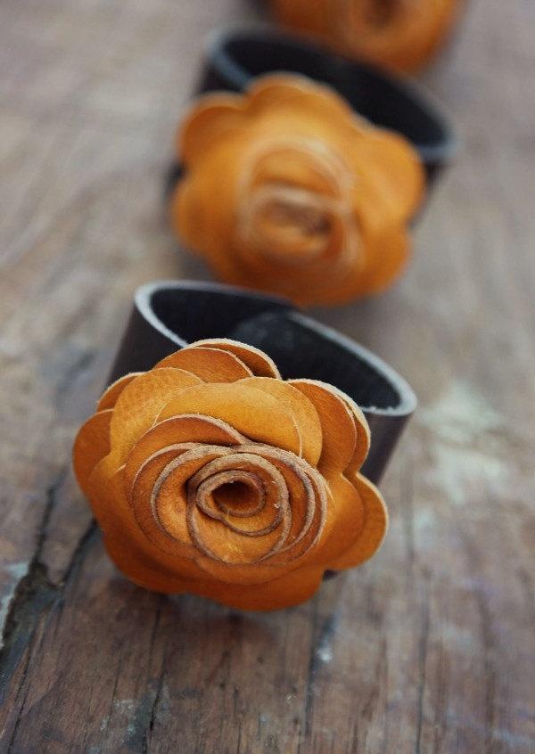 Leather Flower Cuff. $34.00, via Etsy.