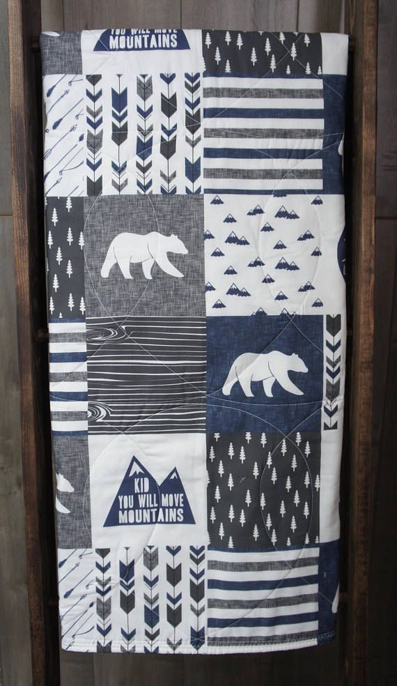 Baby Boy Quilt  Baby/Toddler Blanket  Woodland  Moose