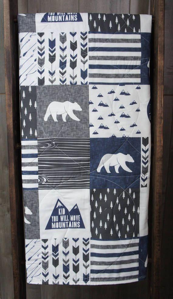 Baby Boy Quilt  Baby/Toddler Blanket  Woodland  Moose