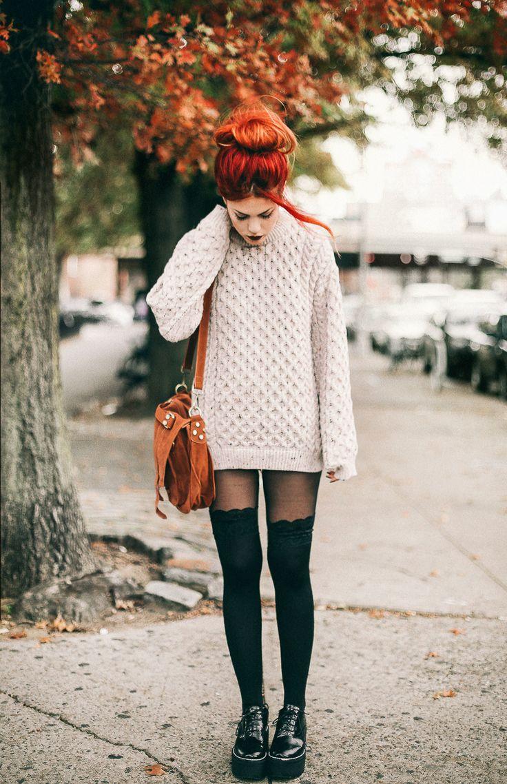Lets go for an autumn dance - LE HAPPY : LE HAPPY. Natural coloured sweater dress+black tights+black laced plattform shoes+camel suede shoulder bag+black choker. Fall Casual Outfit 2016