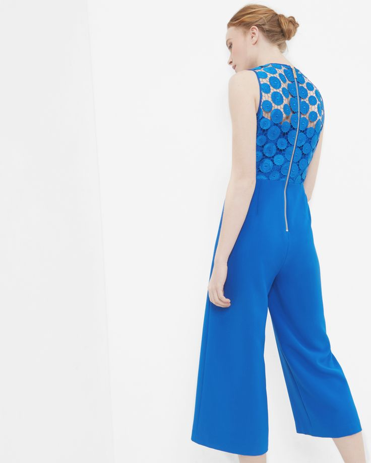 Lace panel culotte jumpsuit - Mid Blue | Trousers and Shorts | Ted Baker UK