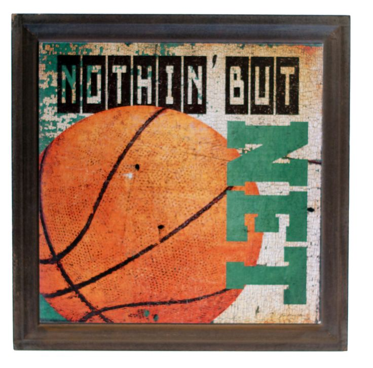 Wood Basketball Sign Graphic Art