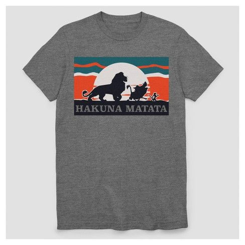 Hakuna Matata! Celebrate the legendary movie and iconic song with the Lion King Hakuna Matata Short-Sleeve T-Shirt. Whether you're ruling over your pride or kicking it with your buddies, this fun graphic tee keeps you cool and comfy all day. And the stylish design pairs with just about anything in your closet, so wearing it always means no worries!
