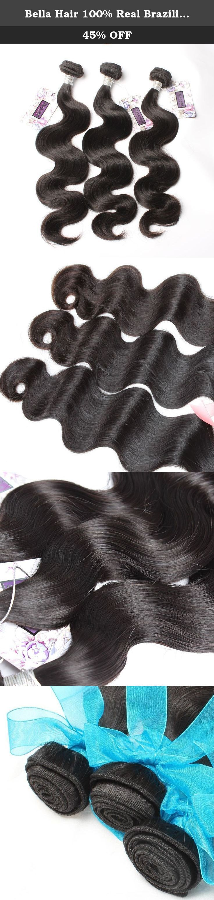 """Bella Hair 100% Real Brazilian Body Wave Bundles Hair Extensions Human Virgin Hair Weave 3 Bundles Natural Color 8""""-30"""" (16inch). Brazilian Virgin Hair Bundles 1) Material: 100% Brazilian virgin human hair , unprocessed natural hair with no chemical process, No Acid! No Dye! 100% Real Human Hair. 2) Quality: Grade AAAAA, No shedding, No tangle, No lice, intact cuticle, long lifetime 3) Length:16""""16""""16"""", 100% ture to the length 4) Color: Natural Black Color (can be dyed or bleached) 5)…"""