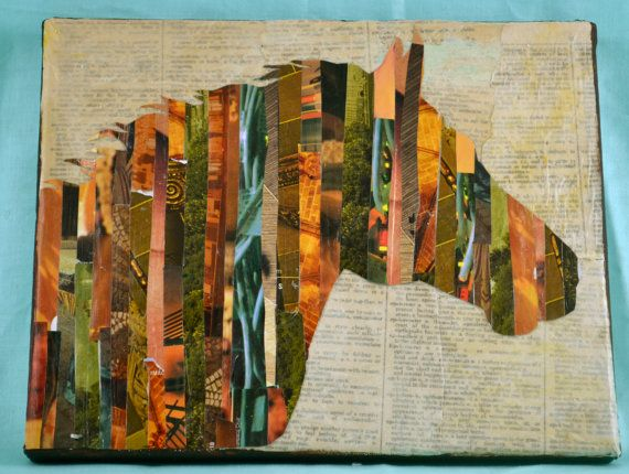 Horse silhouette collage stripes earthy tones 8x10 by UniqueLeeArt, $35.00