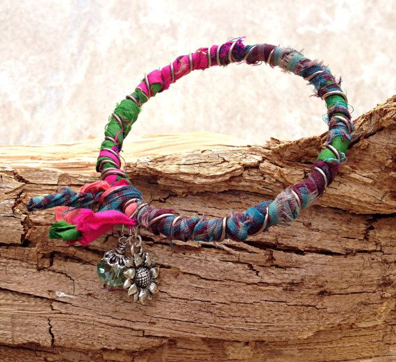 Recycled Sari Ribbon Wrapped Bangle Bracelet= love the wrapped look