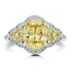 Sterling Silver 925 Oval Cut Canary Cubic Zirconia CZ Cocktail Ring - Nickel Free Fashion Right Hand Ring-Mother's Day Gift Jewelry BERRICLE. $68.99. Stone Total Weight (ct.tw) : 3.09. Nickel Free and Hypoallergenic. Gender : Women. Metal : Stamped 925. Stone Type : Cubic Zirconia