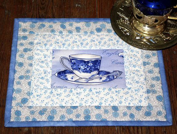 Quilted mug rug in blue and white  Tea cup mug by RedNeedleQuilts, $21.00
