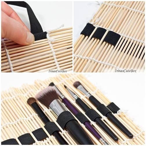 Make-up brush organizer - this would be great for paintbrushes, pottery tools, crochet hooks, knitting needles....
