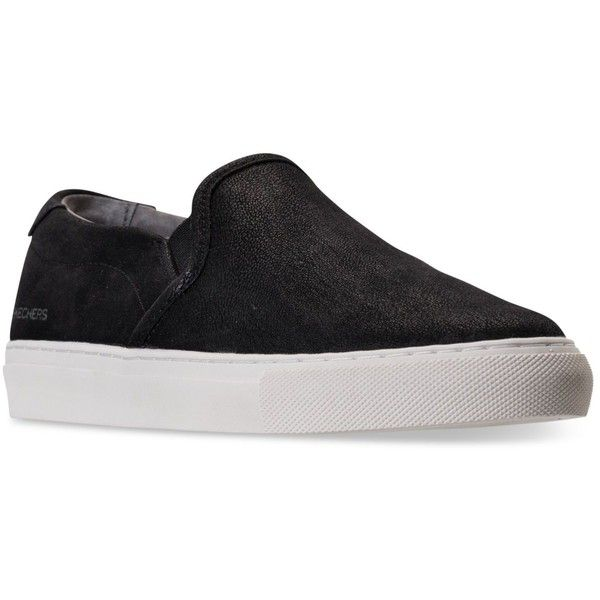 Skechers Women's Vaso Bonita Slip-On Casual Sneakers from Finish Line ($44) ❤ liked on Polyvore featuring shoes, sneakers, black, leather sneakers, black slip on sneakers, slip-on sneakers, leather slip on sneakers and skechers sneakers