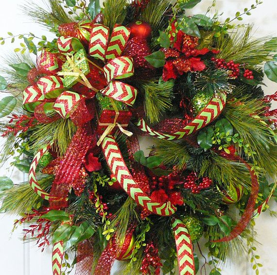 XXL Gorgeous Christmas Door or Wall Wreath with by LadybugWreaths, $169.97.  To purchase, or for more information:  http://ladybugwreaths.com/doorwreaths/wreaths-for-sale-2/